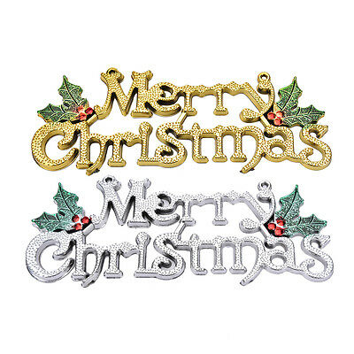 Gold  Silver Hanging Glitter Merry Christmas Decoration Hanger Shop Display EFC