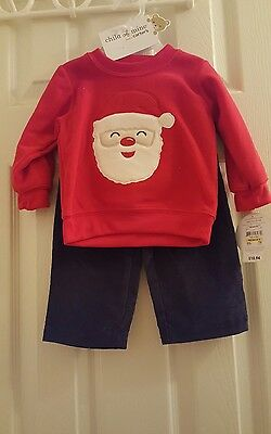 NWT Boys 6-9 months  Santa top and Cordaroy pants  2 pc outfit