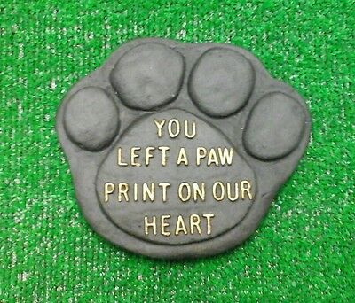 Paw print Large Pet Memorial/headstone/stone/grave marker/memorial black gold