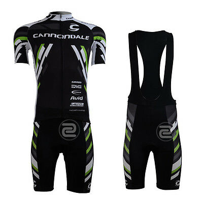 New Fashion Mens Cycling Short Sleeve Sets Riding Jerseys Bib Shorts Suits Black