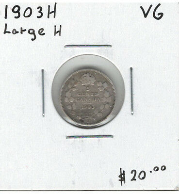 Canada 1903H Silver 5 Cents Large H - VG