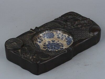 Exquisite Chinese carvings wood blue and white porcelain inkstone