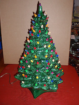 Vintage Ceramic Green Christmas Tree And Lighted Base 21 Inches