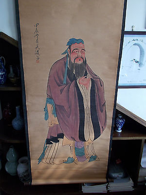 Chinese scroll painting -China's famous thinker, educator -Confucius 孔子