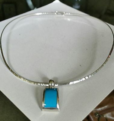 925 silver collar necklace 925  turquoise pendant set
