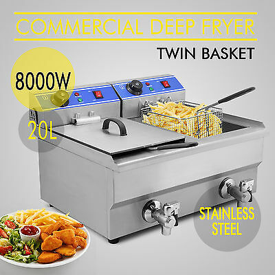 Commercial Electric 20L Deep Fryer w/ Drain and Stainless Steel French Deep Fry