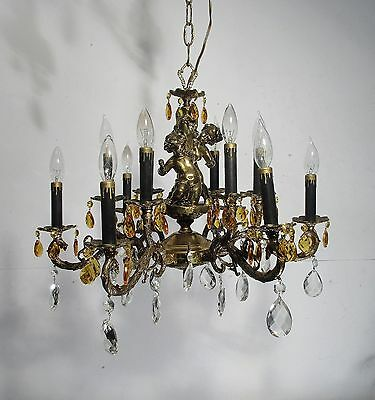 Antique Vintage Chandelier Bronze 12 Light Fixture Cherub Amber Crystal