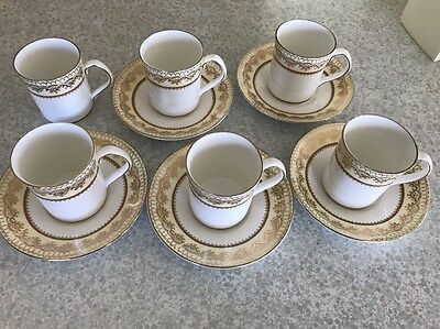 Elizabethan England 'swiss Cottage' Gold White  Coffee Cup Saucer X5
