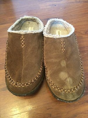 Men's Size 8 Sorel Brown Leather Slippers Fleece Lined