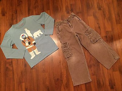 Boys Size 7 8 Mini Boden Outfit Set Cargo Textured Pants Long Sleeve Tee