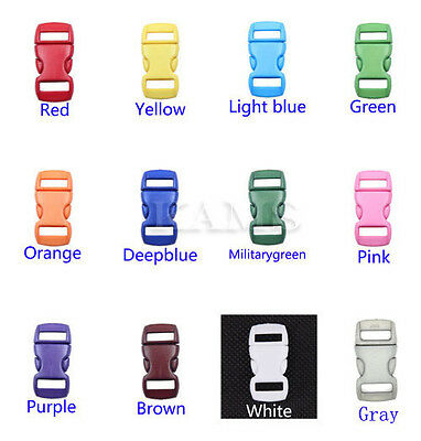 """48pcs 3/8"""" Contoured Side Release Mini Buckles  Mix 12 Colors for 10mm Webbing"""