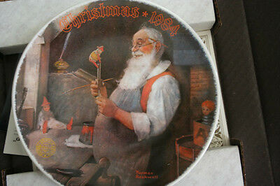 "1984 Norman Rockwell ""Santa in His Workshop"" Collector Plate"