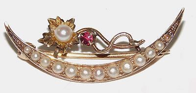 Antique Victorian 10k Yellow Gold Seed Pearl & Ruby Crescent Moon Flower Pin