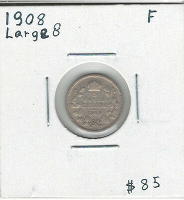 Canada 1908 Silver 5 Cents Large 8 F12