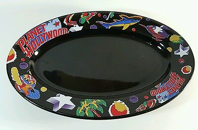 """Planet Hollywood Black Oval Serving Platter Dish Plate 13.75""""x9"""""""