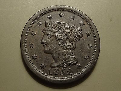 1852 Braided Hair Large Cent, Xf
