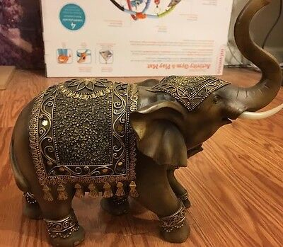 Old Antique India Wood Hand Carved Elephant With Baby Figurine Statue Rare!