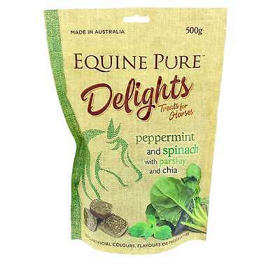 Equine Pure Delights Horse Treat Peppermint and Spinach with Parsley, Chia 500g