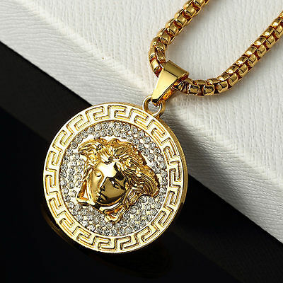 """18k Gold Plated Hip-Hop-Versace-Medusa-Style Necklace Pendant With 30"""" Chain"""