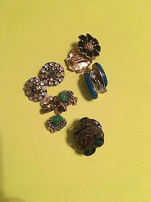 costume jewelry clip on earrings. Gold Tone Black Flowers Green Blue