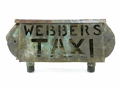 """webbers"" Taxi Cab Car Roof Rat Rod Old Sign Antique Vintage Topper Accessory"