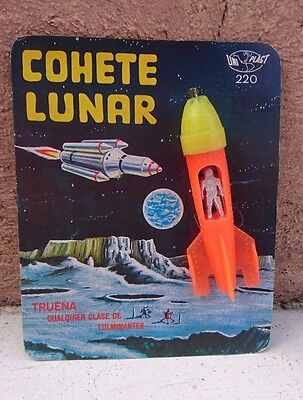 Vtg Rare 1970 Space Toy Plastic Orange Moon Rocket With Astronaut Cap Toy Mexico