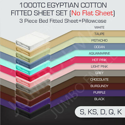 S/KS/D/Q/K Size 1000TC Egyptian Cotton 3 Piece Fitted Sheet Set(No Flat Sheet)