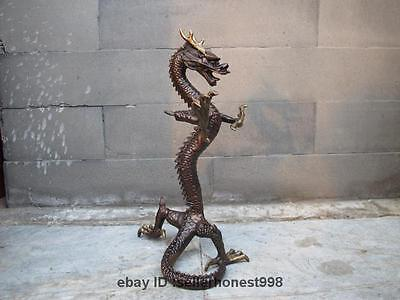 "10""Chinese Royal Feng Shui Pure Bronze Copper Fly Dragon Ainmals Statue"