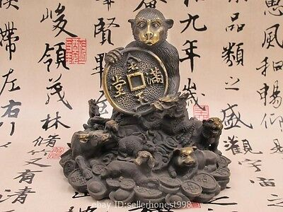 China FengShui Bronze Twelve Zodiac Tiger Dragon OX Lucky Wealth Monkey Statue