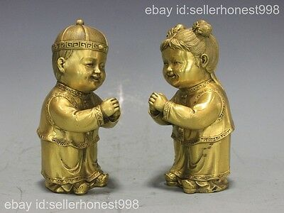 China Folk feng shui  boy girl Pure Copper Guanyin-Tongzi Children statue