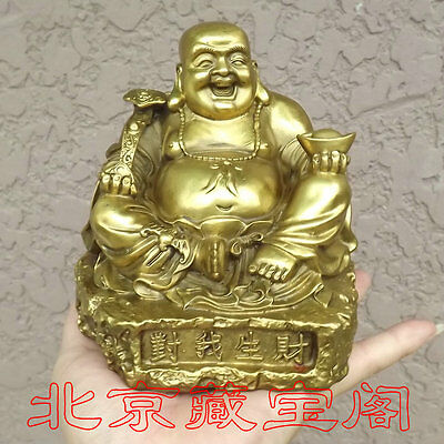 Chinese Pure copper Brass peace brings money gourd Bat Maitreya Buddha statue