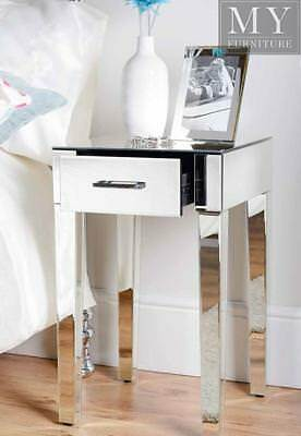 ZOE Mirrored Bedside Lamp Table with Single Drawer