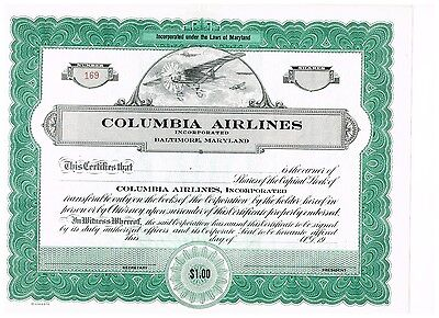 Columbia Airlines, Inc., 19xx, unissued, nice