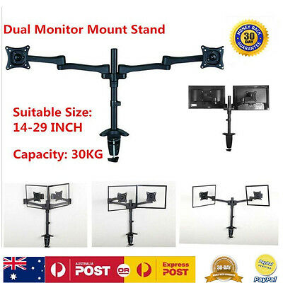 Universal Dual Arm Monitor Mount Tilt Swivel LCD LED Screen Bracket Up To 29''