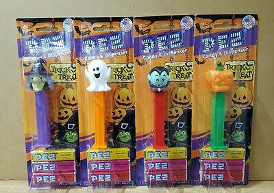 New 2016 Set Of Four Halloween Pez ~ Witch, Ghost, Vampire, And Pumpkin On Cards