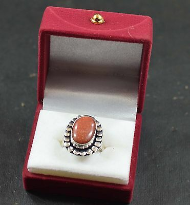 30.80 CT Lovely Sunstone Oval Cut Ring Size 8.00  German Silver For Gift Use ~