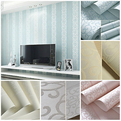 10M Vertical Stripe Embossed Feature Flocked Non-woven Damask Wallpaper Roll