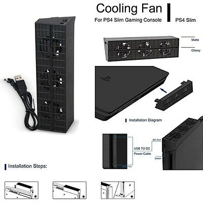 Cooling Fan Cooler Heat Exhauster Temperature Control For PS4 Slim Game Console