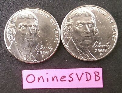 2009 P & D Jefferson Nickels~Brilliant Uncirculated picked from Original Rolls!
