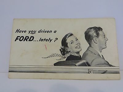 """1950s Ford Dealer's Promotional Card """"Have you driven a FORD...lately?"""" - Rare"""