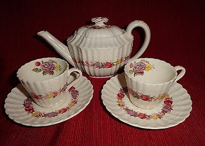Vintage Copeland Spode Rose Briar mini teapot and 2 cups and saucers