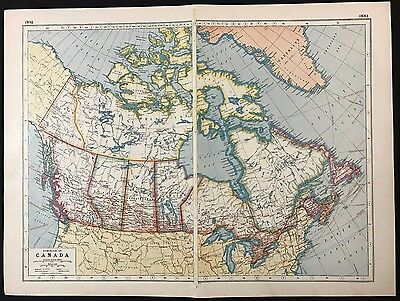 Vintage Map 1920, Dominion of Canada - Harmsworth's Atlas