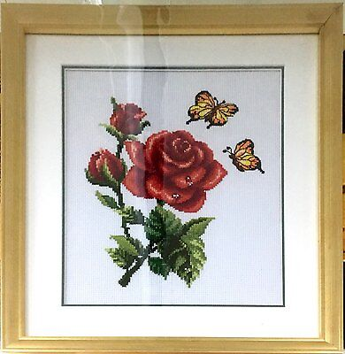 """Completed Cross Stitch """"Red Rose and Butterfly"""" with fine frame and glass cover"""