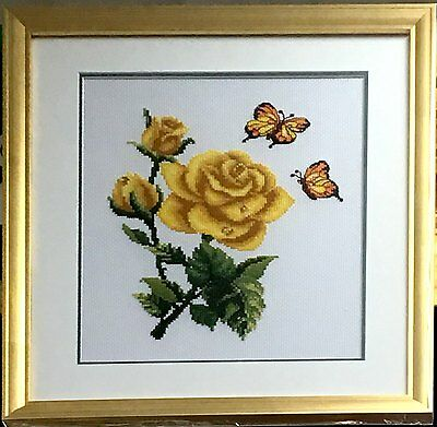 """Completed Cross Stitch """"Yellow Rose and Butterfly"""" with frame and glass cover"""