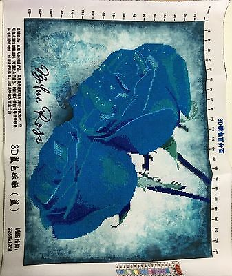 """Completed Handmade Cross Stitch """"Blue Rose"""""""