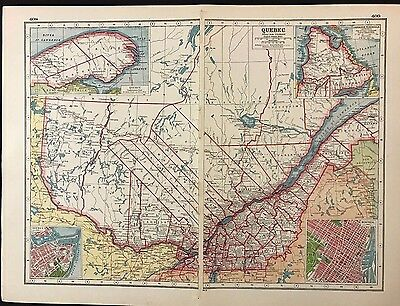 Vintage Map 1920, Quebec, Canada - Harmsworth's Atlas