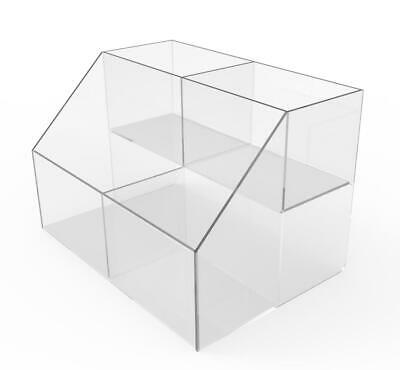 Small Double Wide Tiered Acrylic Plexiglass Lucite Bin Display 100813