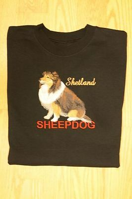 Sheltie / Shetland Sheepdog Embroidered On a 2XLarge Black Crewneck Sweatshirt