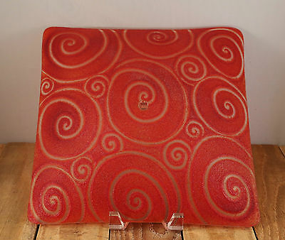 Susanna Prince Fused Glass Red Textured Glass Ceiling Handmade Fixture R$95