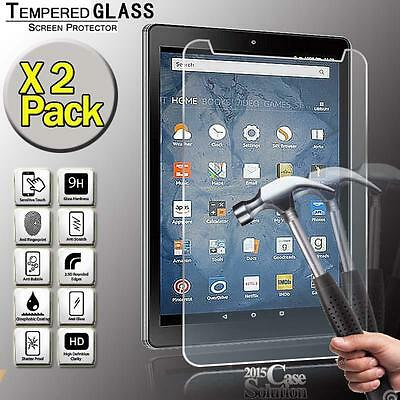 2 Pack Tempered Glass Screen Protector for Amazon Kindle Fire HD 8 2016 Tablet